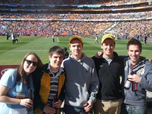 Our Canadian friends and us at Soccer Stadium, Johannesburg.